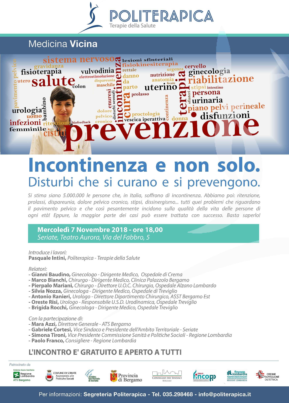 """""""Incontinenza e non solo: disturbi che si curano e si prevengono"""". Incontro pubblico a Seriate, 7.11.2018"""