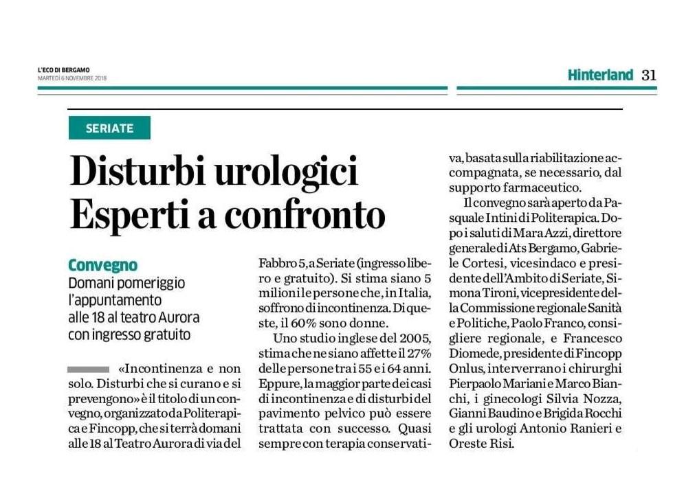 """L'Eco di Bergamo. """"Disturbi urologici. Esperti a confronto."""""""