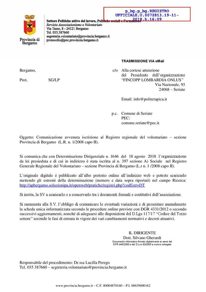 Fincopp Lombardia iscritta nel Registro Regionale del Volontariato!