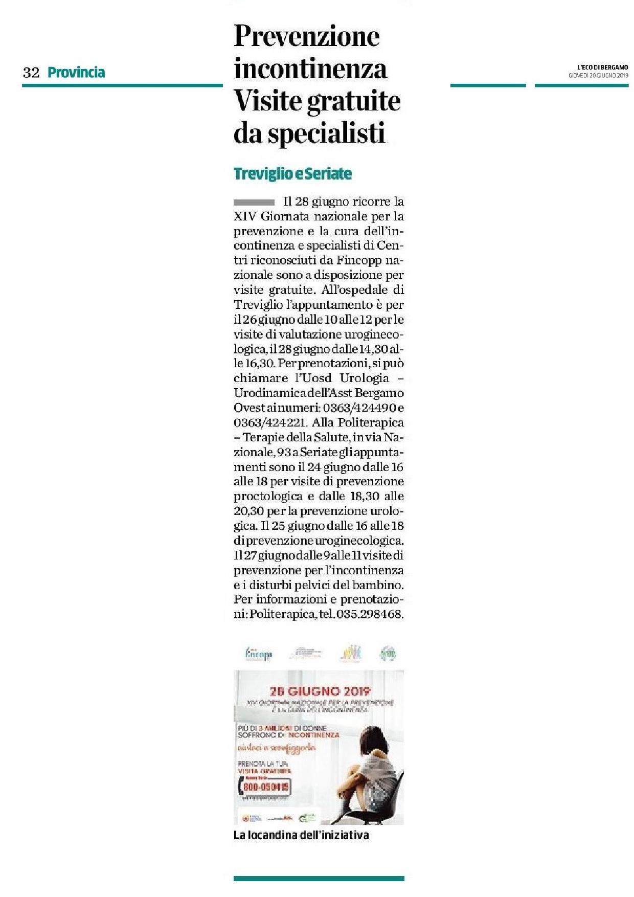Settimana di visite specialistiche gratuite. Ne parla l'Eco di Bergamo.