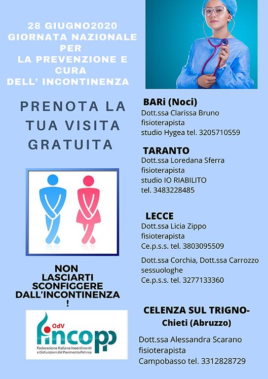 28 Giugno 2020 – Giornata Nazionale per la prevenzione e cura dell'incontinenza – Prenota la tua visita gratuita